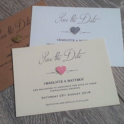 10 x Classic Vintage Glitter Heart wedding save the date cards