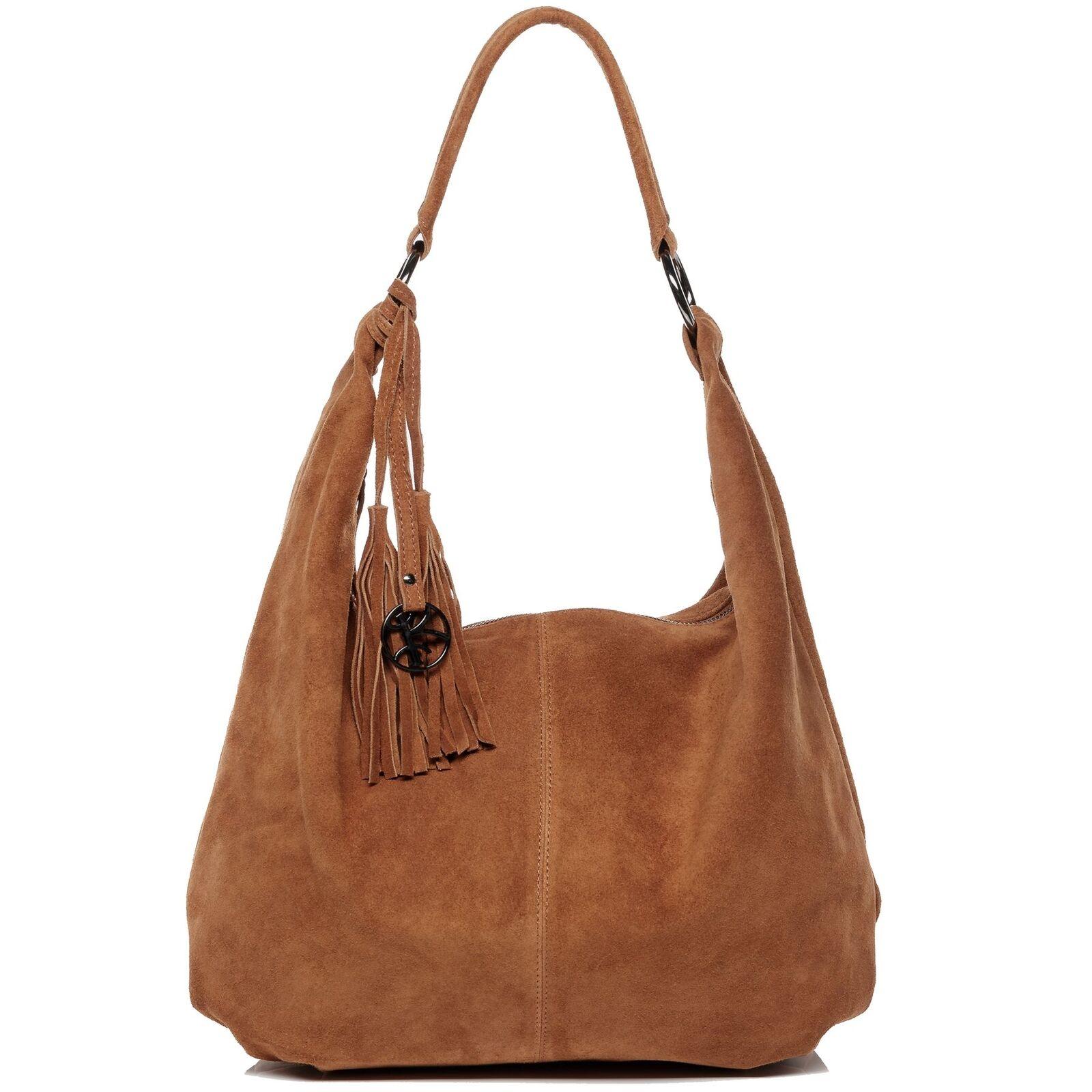 BACCINI Beuteltasche Handtasche Hobo Bag Damen Tasche Schultertasche Wildleder