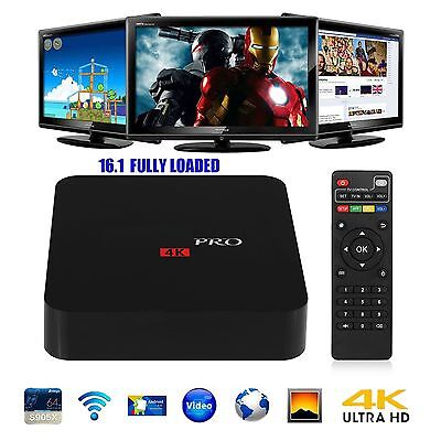 Pro S905X Smart TV BOX Android 6 Marshmallow Quad Core 8GB Box 4K FULLY LOADED