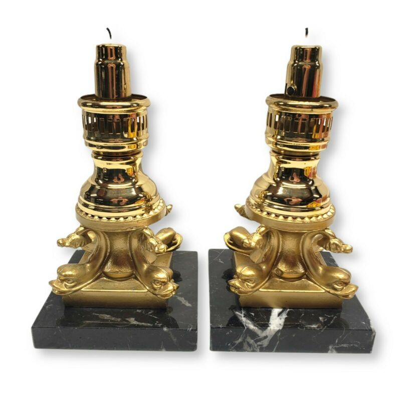 Vintage Brass Candlestick Holders with Marble Base Set of 2