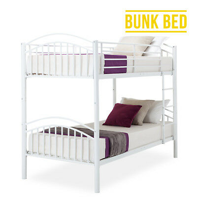 Modern 3FT Single White Metal Bunk Bed Frame 2 Person for Adult Children