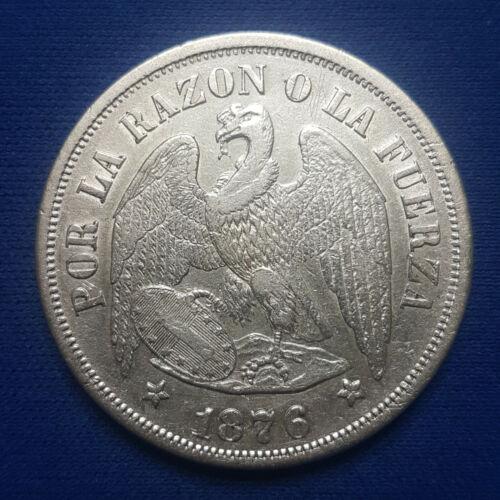 1876-So Chile Silver 1 Peso. XF-AU. - 195
