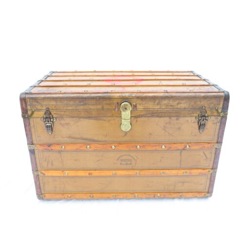 Rare Crough & Fitzgerald Steamer Trunk Green Canvas & Leather Brass Studs c1900