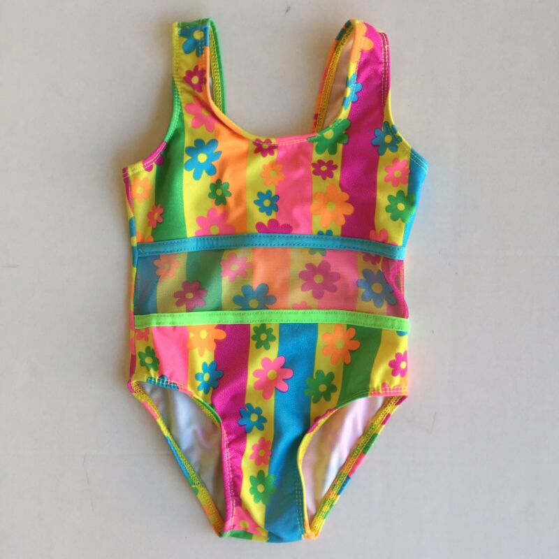 Vintage 80's Neon Flower Swimsuit Bathing Suit One Piece Toddler Girls 2-3T