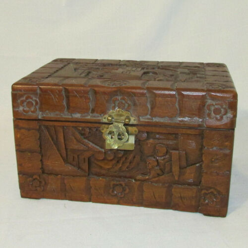 Vintage George Zee & Co Carved Camphor Small Chest Box w/ Brass Latch Hong Kong