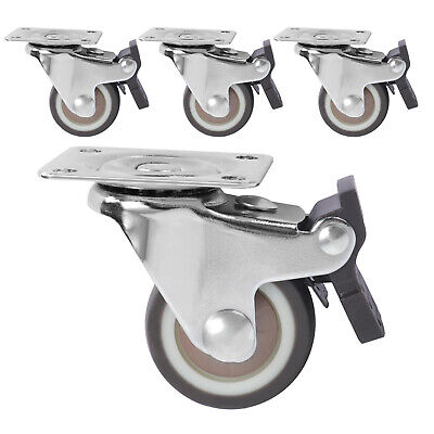Set Of 4 Heavy Duty Swivel Casters With Brakes Top Plate Tpr Wheels