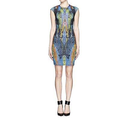 McQ Alexander McQueen Cap Sleeve Body-Con Dress in Multi Rainbow Crocodile Sz L