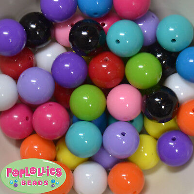 20mm Mixed Color Solid Acrylic Chunky Bubblegum Beads 120pc Bulk