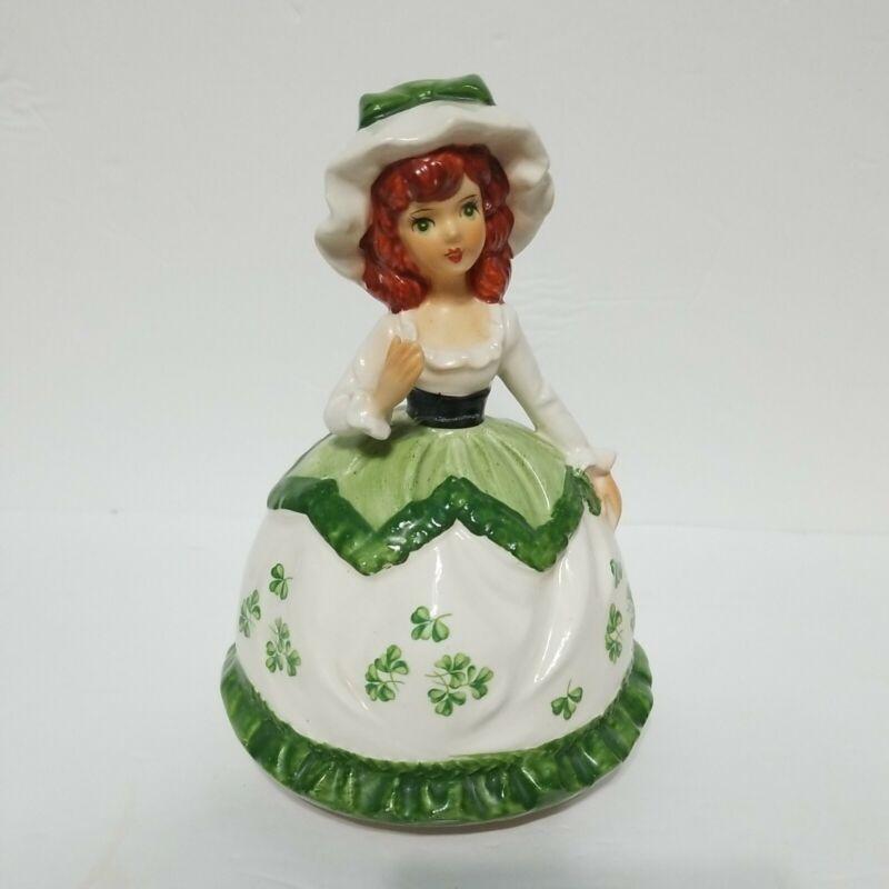 Vintage Sankyo Japan Porcelain Rotating Irish Girl Figurine Music Box Musical