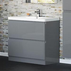 850 x 900mm pebble grey bathroom vanity unit stone countertop basin