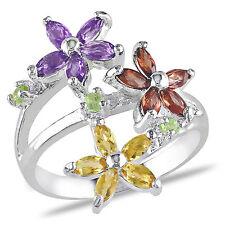 Amour Sterling Silver 1 1/2 Ct TGW Multi-gemstone Flower Ring