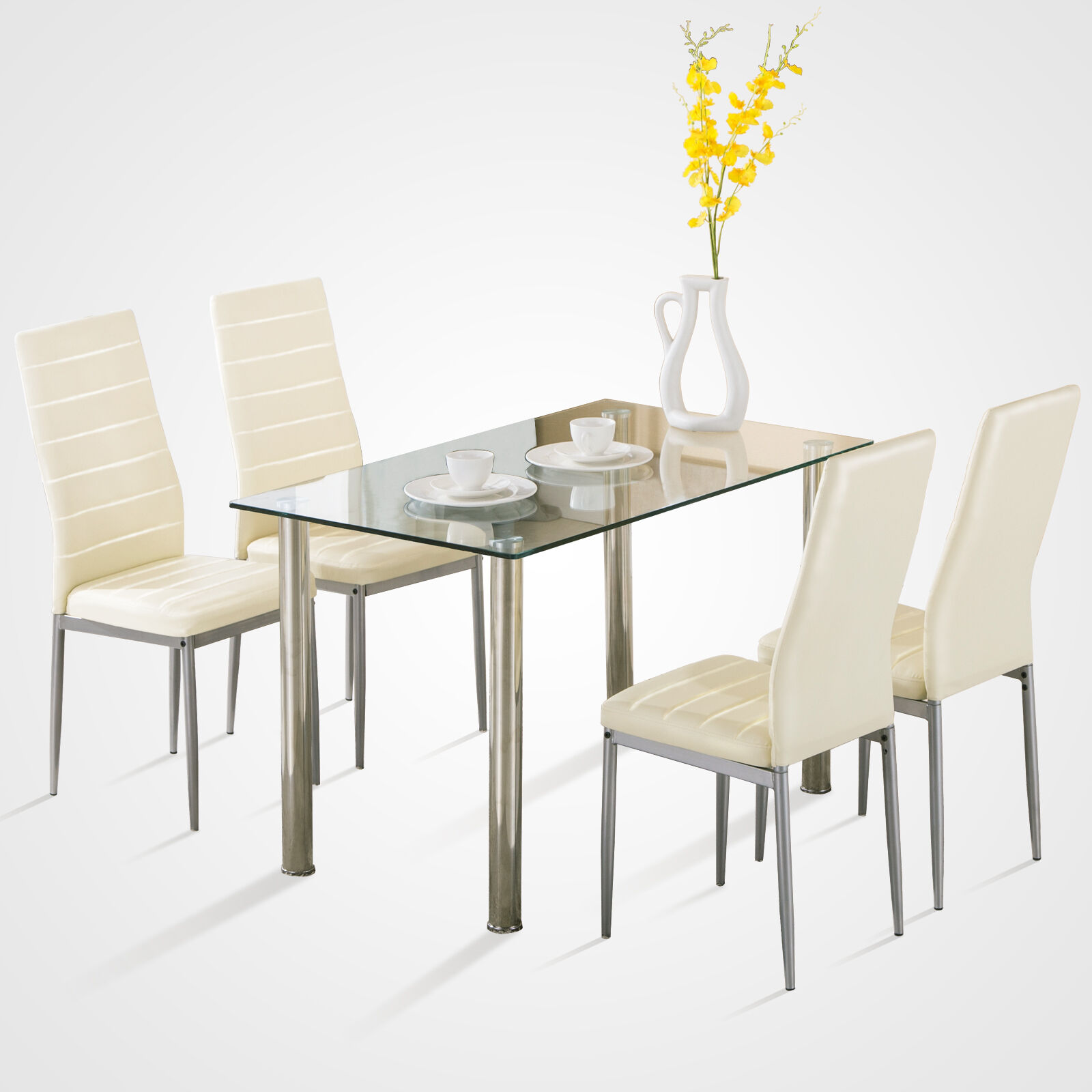 5 Piece Dining Table Gl Metal Set W 4 Chairs Breakfast Furniture Kitchen Room