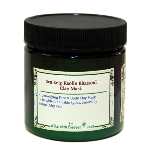 Sea Kelp Kaolin Rhassoul Clay Facial Body Detoxify Mask + Br