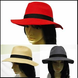 New-Womens-ladies-Vintage-Floppy-Wide-Brim-Wool-cowboy-Panama-Safari-Fedora-Hat