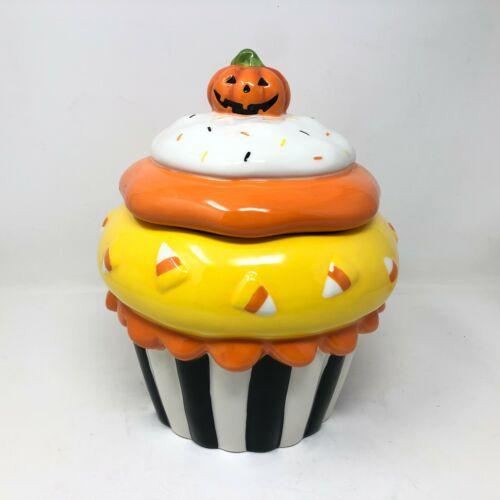 Kohls Happy Halloween Cupcake Cookie Ceramic Treat Jar Pumpkin Lid