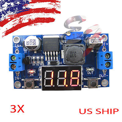 3x Buck Step-down Lm2596 Power Converter Module Dc 4.040 1.3-37v Led Voltmeter