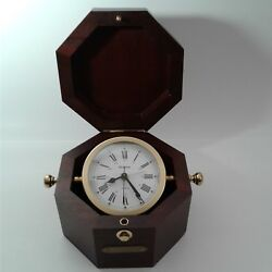 BULOVA Quartz Germany Wood B7910 Maritime Tabletop Shelf Mantel Clock