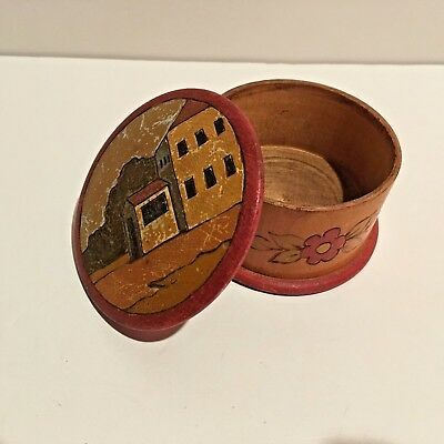 Antique Vintage Folk Art Hand Carved Hand Painted Lathe Turned Round Wood Box