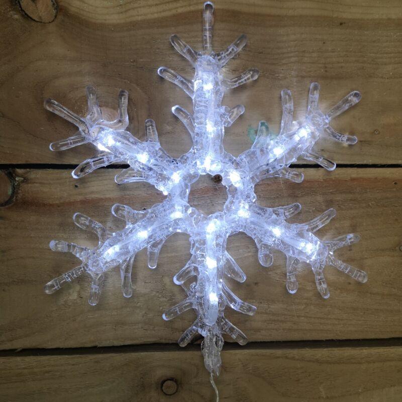 30cm+Christmas+Light+Up+Cool+White+LED+Acrylic+Snowflake+With+18+LEDs