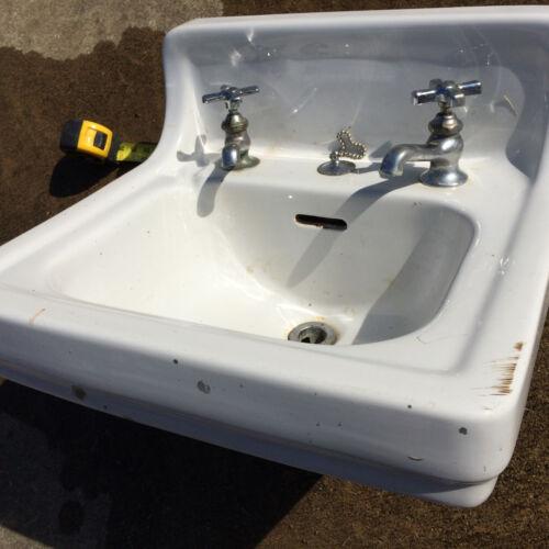 Antique Vintage 1930s Standard Porcelain Seperate Faucet Bathroom Sink w Bracket