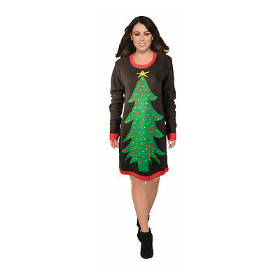 Adult Women's Holiday Christmas Tree Knit Ugly Long Sweater Dress Costume M L - Christmas Tree Costumes