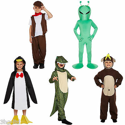 Child Fancy Dress Up Costume Chimney Sweep Monkey Dinosaur Penguin Alien 4-12 - Child Alien Costume