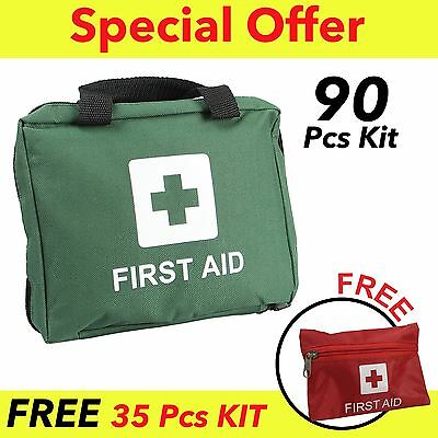 90 Piece Premium First Aid Kit MEDICAL EMERGENCY TRAVEL HOME CAR TAXI WORK RED