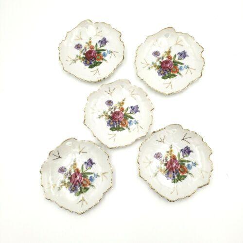 """Set of 5 Antique 4"""" Leaf Butter Pats / Teabag Holders"""