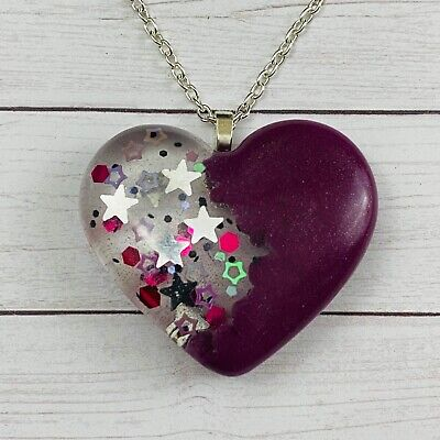 Heart Magenta Stars Glitter Resin Charm Pendant Necklace Jewelry Silver -