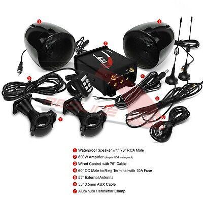 600W Amplifier Waterproof Bluetooth Motorcycle Stereo Speaker Audio System Radio
