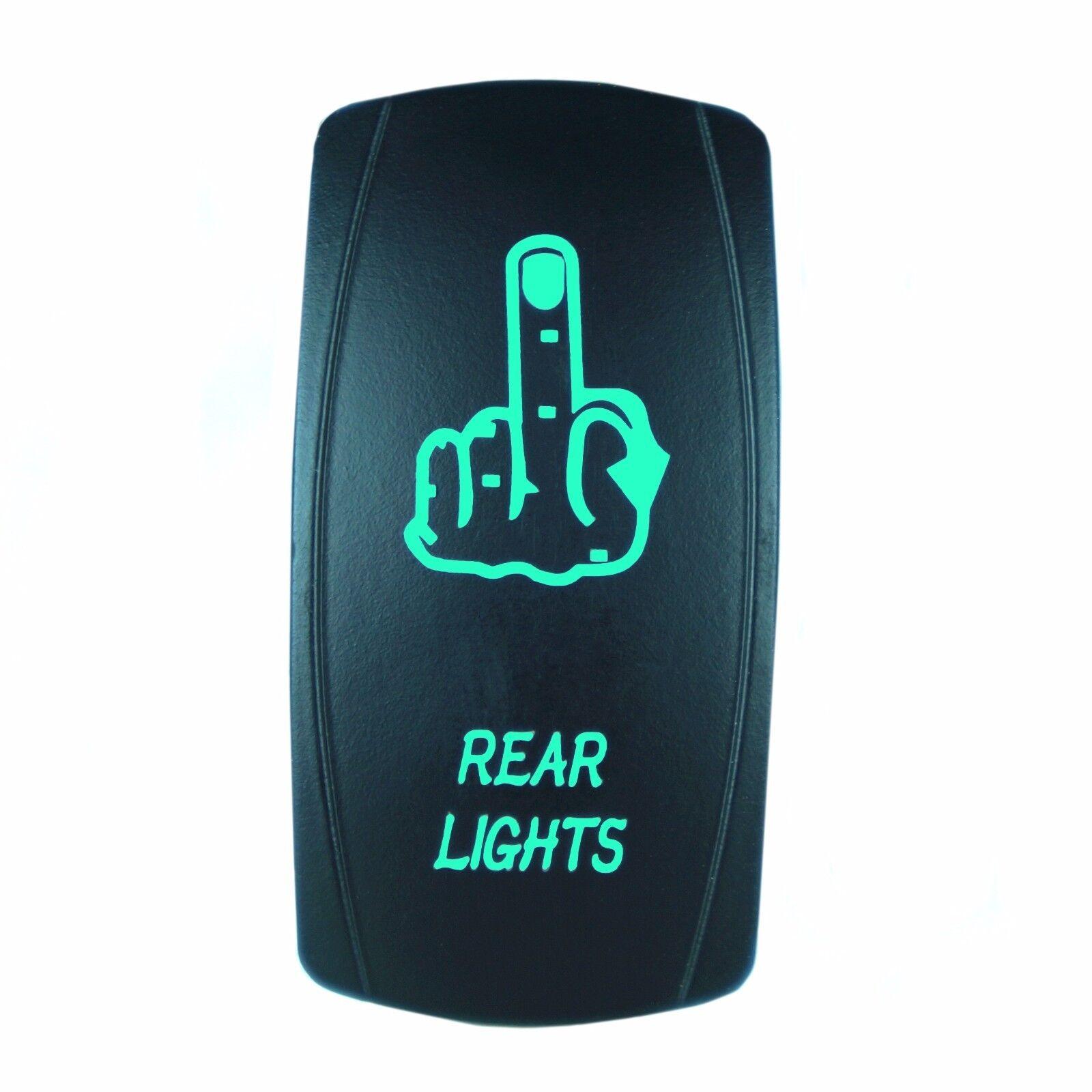 Laser FINGER REAR LIGHTS Rocker Switch ON-OFF led Light 20A 12V 5pin GREEN