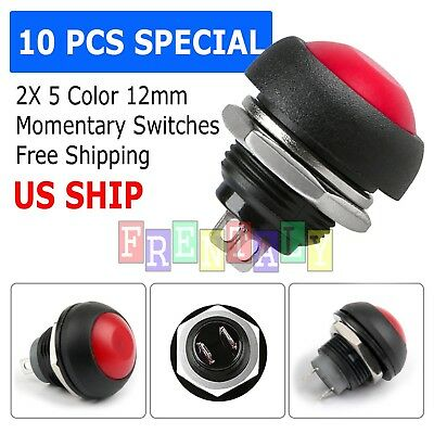 Red 10x Pcs M4 12mm Waterproof Momentary Onoff Push Button Round Spst Switch