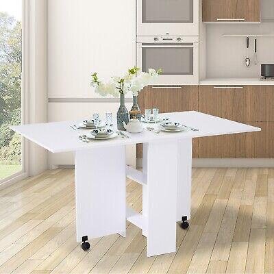 Mobile Drop Leaf Dining Table Folding Desk w/ 2 wheels Storage Shleves White
