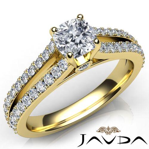 Cushion Bezel Set Diamond Engagement Split Shank Prong Set Ring GIA G VS2 1.15Ct