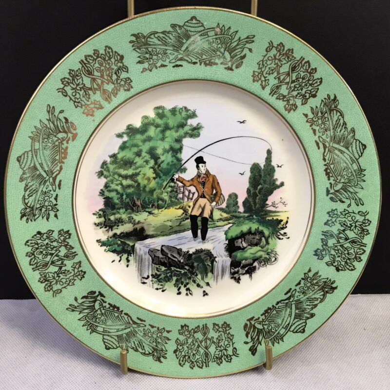 Vintage Royal Stanfordshire Clarice Cliff China Dinner Plate Green Gold Trim
