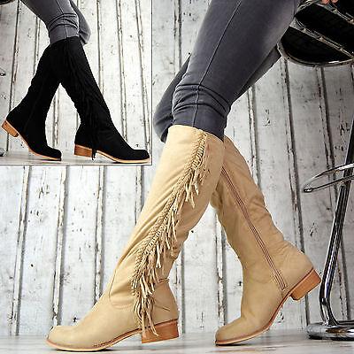 Neu LuXus Kniehöhe Stiefel Damen Schuhe Fransen Elegante SeXy Schwarz Beige Damen Fransen Stiefel