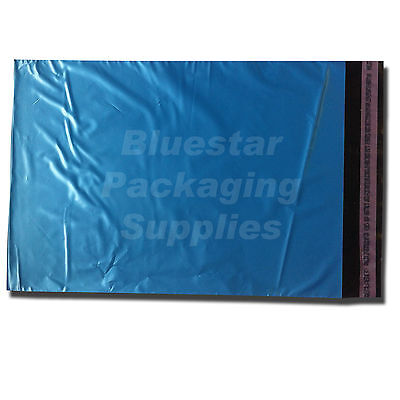 25 Metallic Blue Strong Polythene Postage Mailing Bags 17 x 22
