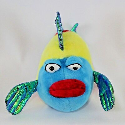 Webkinz Pucker Fish Plush HM438 Blue Red Yellow Sparkly Green Fins Tail No - Green Pucker Fish