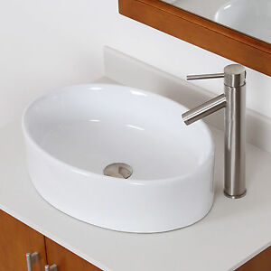 ... Long Oval White Ceramic Porcelain Vessel Sink & Nickel Faucet Combo