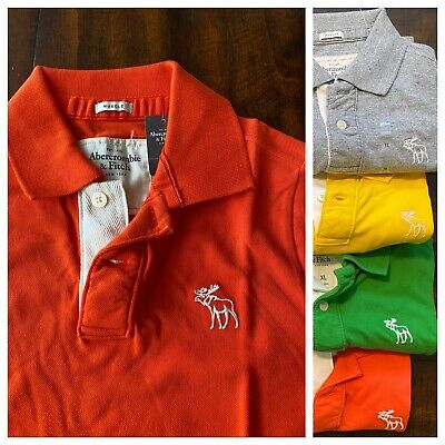 New Vintage Abercrombie & Fitch Muscle Fit Men 100% Cotton Polo Shirt, Orange XL