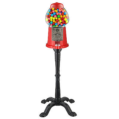 Gumball Machine With Stand Coin Operated Bank Candy Dispenser Vending Vintage