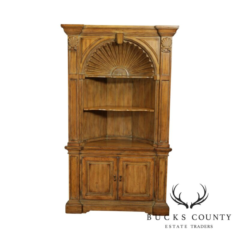 Georgian Style Large Shell Carved Architectural Corner Cabinet
