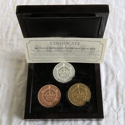 1937 EDWARD VIII WREATH PROOF PATTERN 3 CROWN SET WITH SILVER - boxed/coa