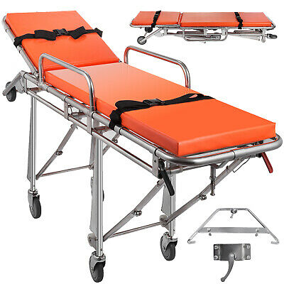 Emergency Medical Stretcher Ambulance Automatic Loading Gurney Rotatable Casters