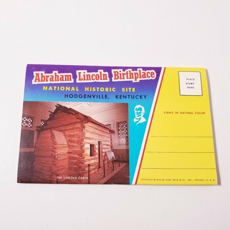 Vintage Abraham Lincoln Birthplace Kentucky Souvenir Postcard Photo Booklet