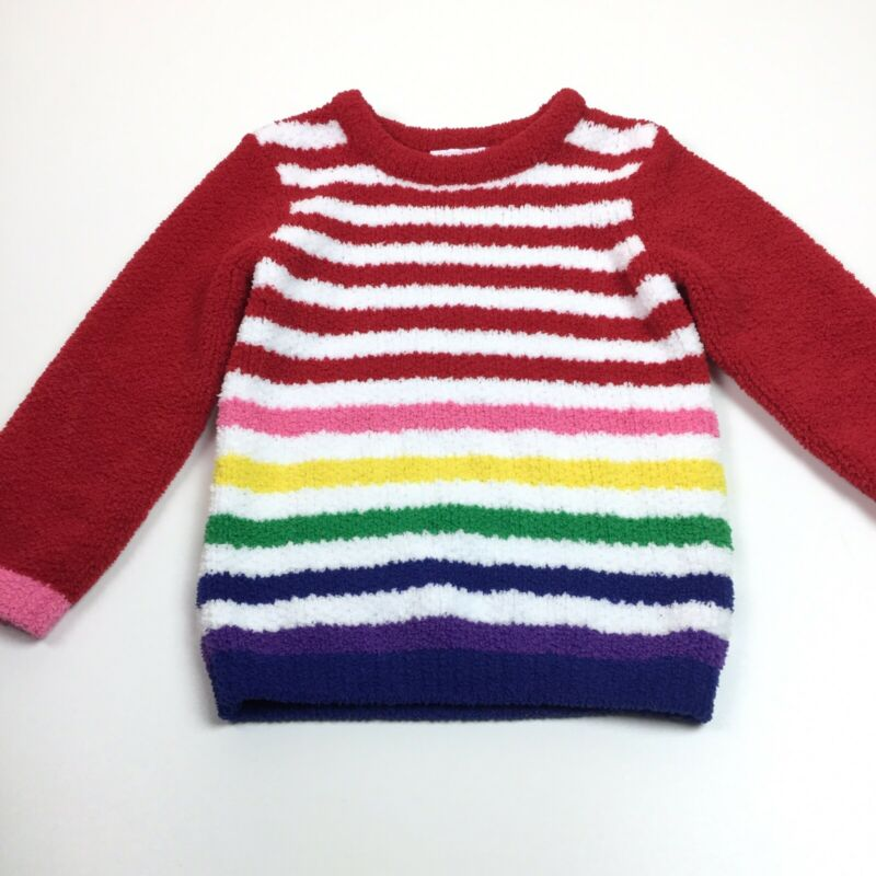 Hanna Andersson Girls Sweater Striped Rainbow Fuzzy Long Sleeve Size 100 4T