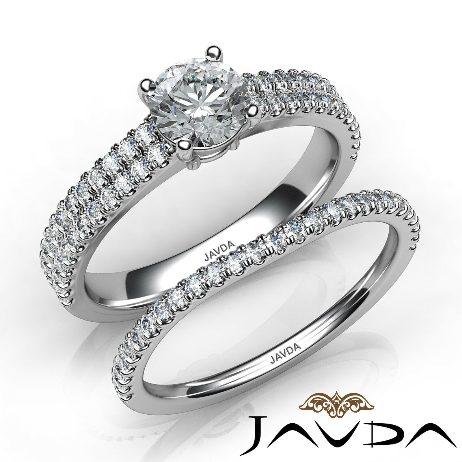 1.2ctw Scalloped Pave Bridal Round Diamond Engagement Ring GIA E-VVS2 White Gold