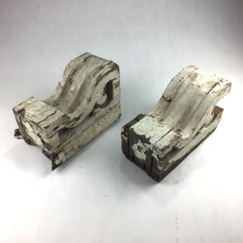 Antique Pair Corbels Wood Small Victorian Architectural Shabby Vintage Chic