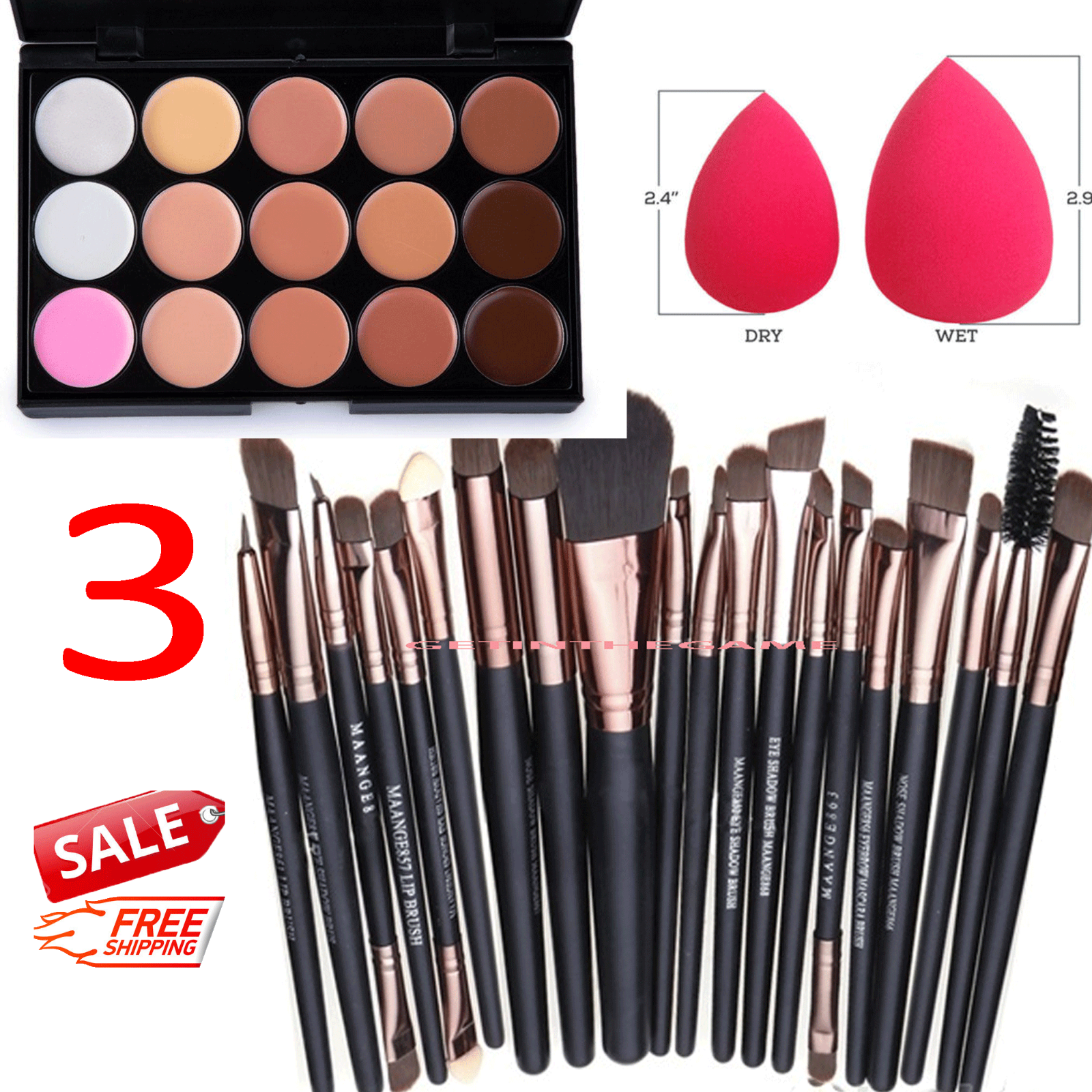 15 Colors Makeup Contour Face Cream Concealer Palette Professional + 20 BRUSH SP Concealer