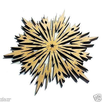 "(3) 3"" x 1/8"" Snowflakes Wooden Holiday Christmas Ornaments Hard wood Decor USA"